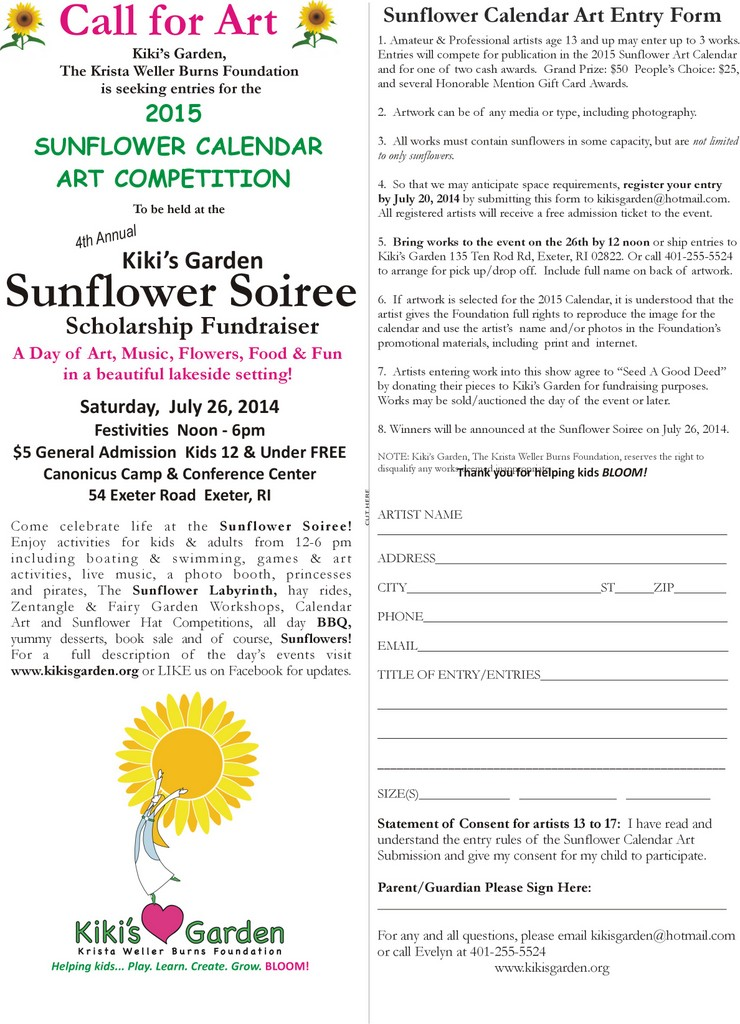 Calendar Art Competition : Art contests kiki s garden